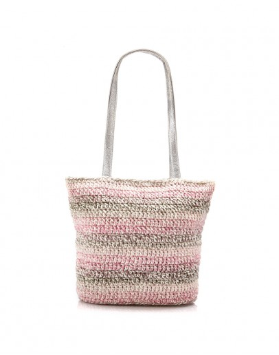 Grey & Baby Pink Handknitted Tote Bag