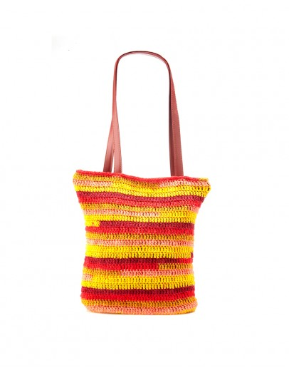 Yellow & Red Handknitted Tote Bag