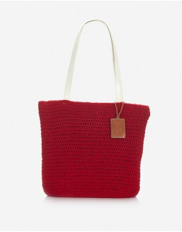 Red Handknitted Tote Bag