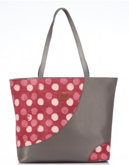 Pink and Grey Leather Accent Handbag