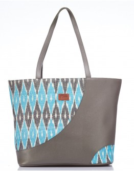 Sky blue and grey Leather Accent Handbag