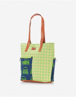Lime Green Checkered Tote with Blue Pocket