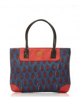 Blue and red printed handbag