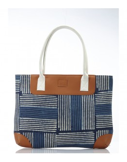 Blue and brown printed handbag