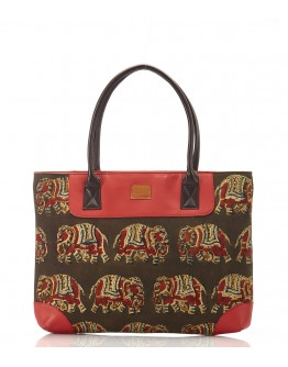 Brown and red printed handbag