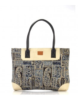 Blue and  white printed handbag