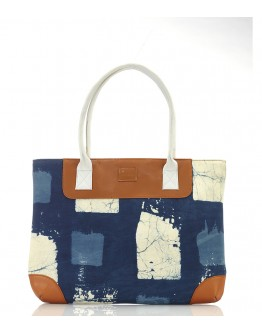 Blue, White and Brown printed handbag