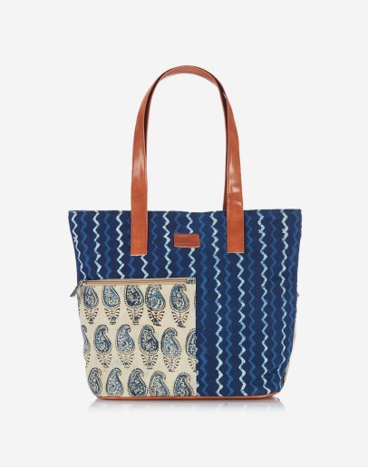 Blue Ikat Tote with Koyri Pocket