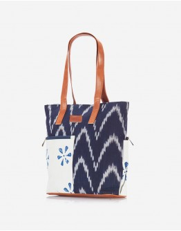 Navy Blue Ikat Tote with Floral Pocket